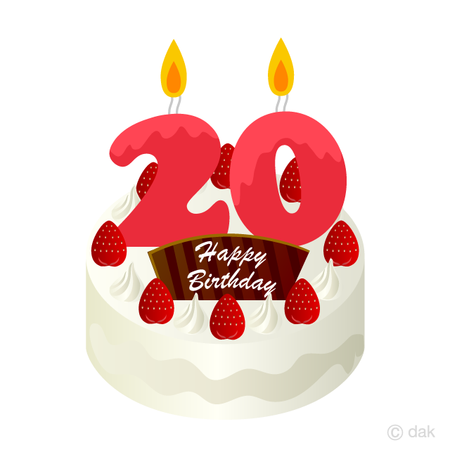 Free 20 Years Old Candle Birthday Cake Clipart Image|Illustoon.
