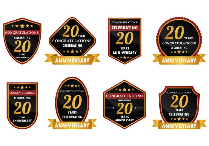 20 Year Anniversary Badge Vector.
