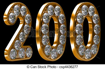 Stock Illustrations of Golden 200 numeral incrusted with diamonds.