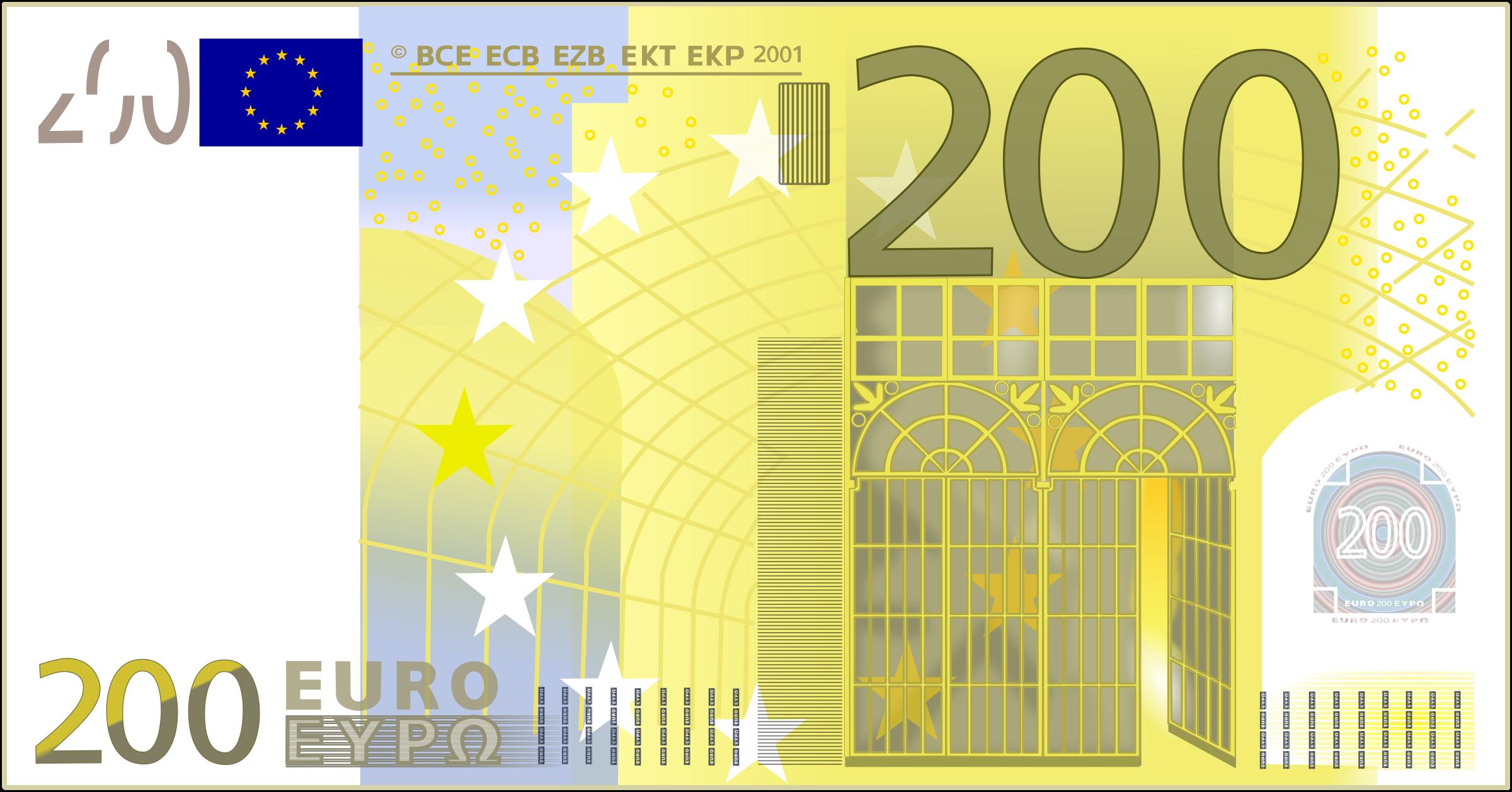 Euro 200 note vector clipart.