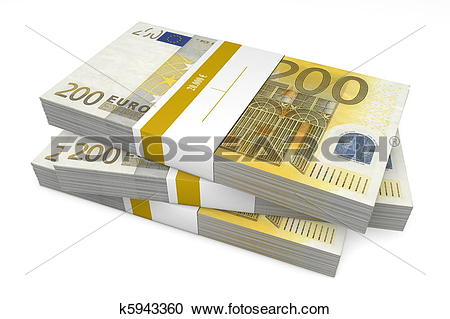 Stock Illustrations of Three Packets of 200 Euro Notes with Bank.