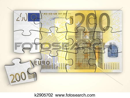 Clip Art of 200 Euro Note Puzzle.