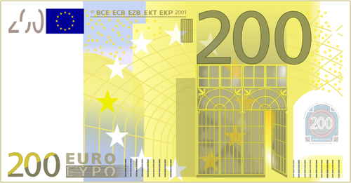 Two hundred Euro note vector clip art.