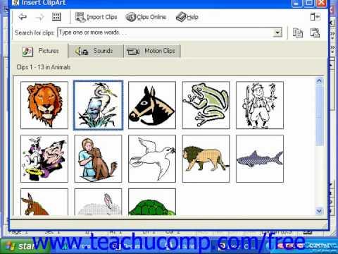 Microsoft word 2003 clip art.