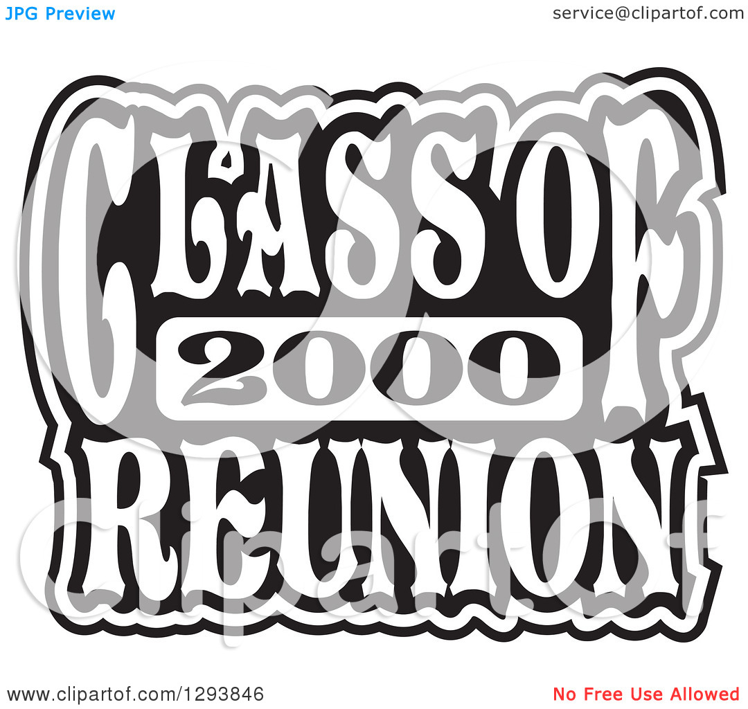 Clipart of a Black and White Class of 2000 High School Reunion.