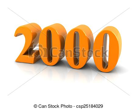 Stock Photo of number 2000.