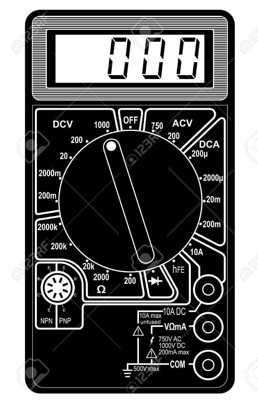 Digital Multimeter. Vector Illustration. Isolated On White.