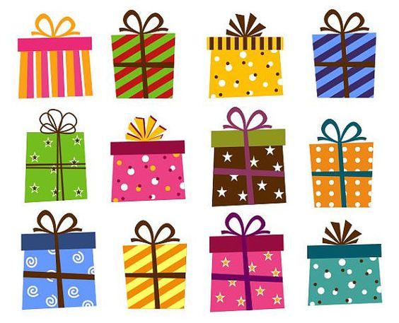 Giftbox Clip Art, Present Boxes Clip Art, Instant Download.