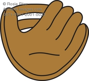 Clip Art Illustration of a Baseball Glove.