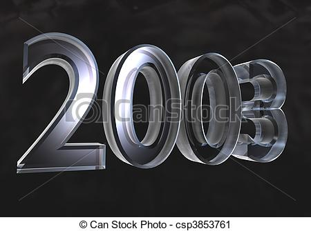 Clipart of new year 2003 in gold (3D).