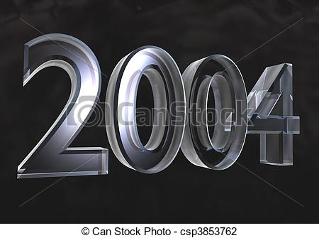 Clip Art of new year 2004 in gold (3D).