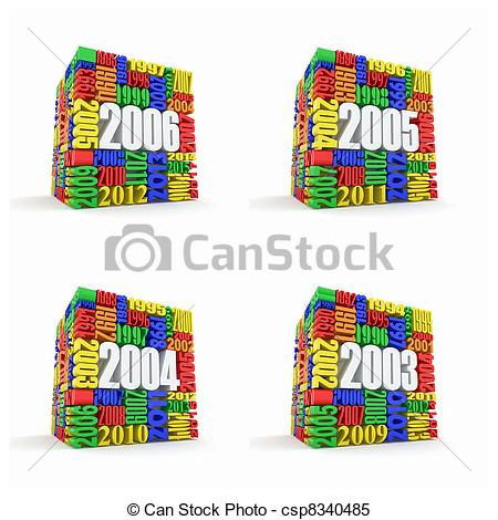 Stock Illustrations of New year 2006, 2005, 2004, 2003. Cube.
