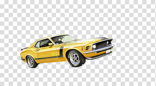 Retro Cars, yellow Ford Mustang coupe transparent background.