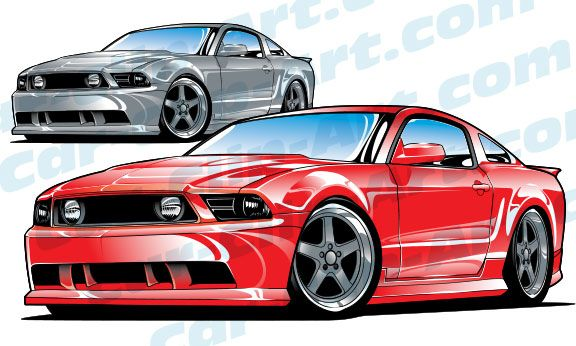 Late Model Ford Mustang Vector Clip Art.