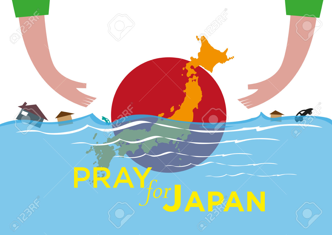 Pray For Japan Concept. Offering Help During Natural Disasters.