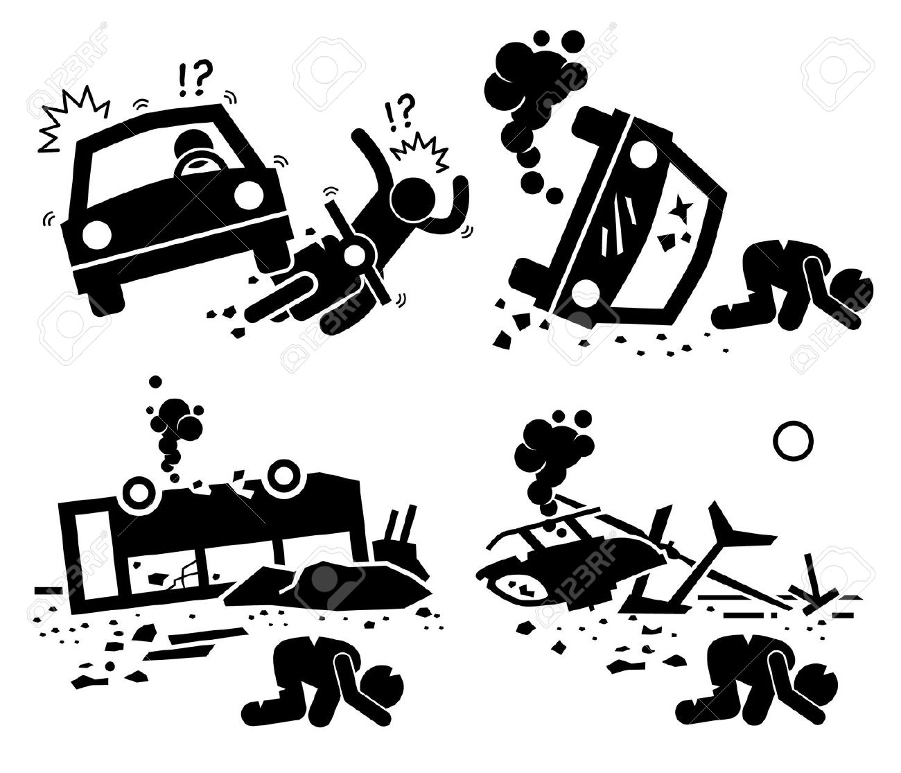 Disaster Accident Tragedy Of Car Motorcycle Collision, Bus Crash.