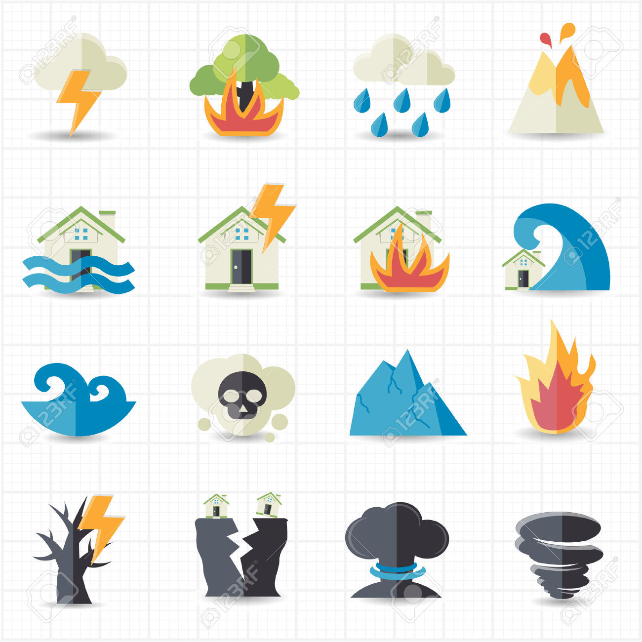 Natural Disaster Icons Royalty Free Cliparts, Vectors, And Stock.