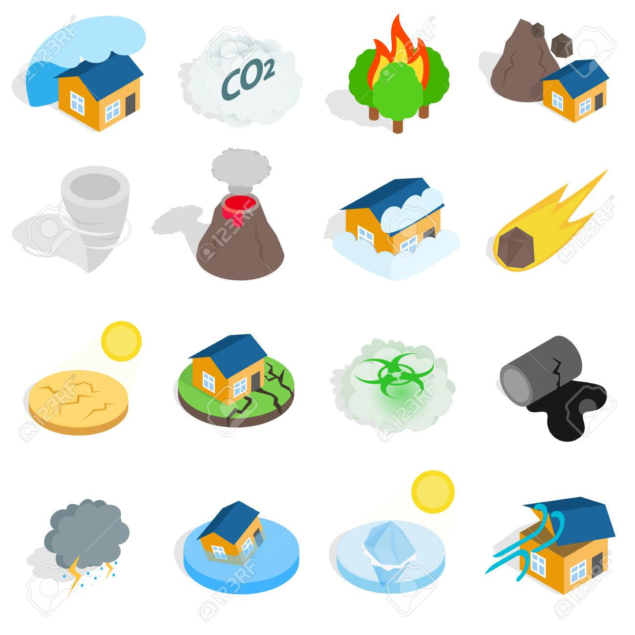 Natural Disaster Catastrophe Icons Set In Isometric 3d Style.