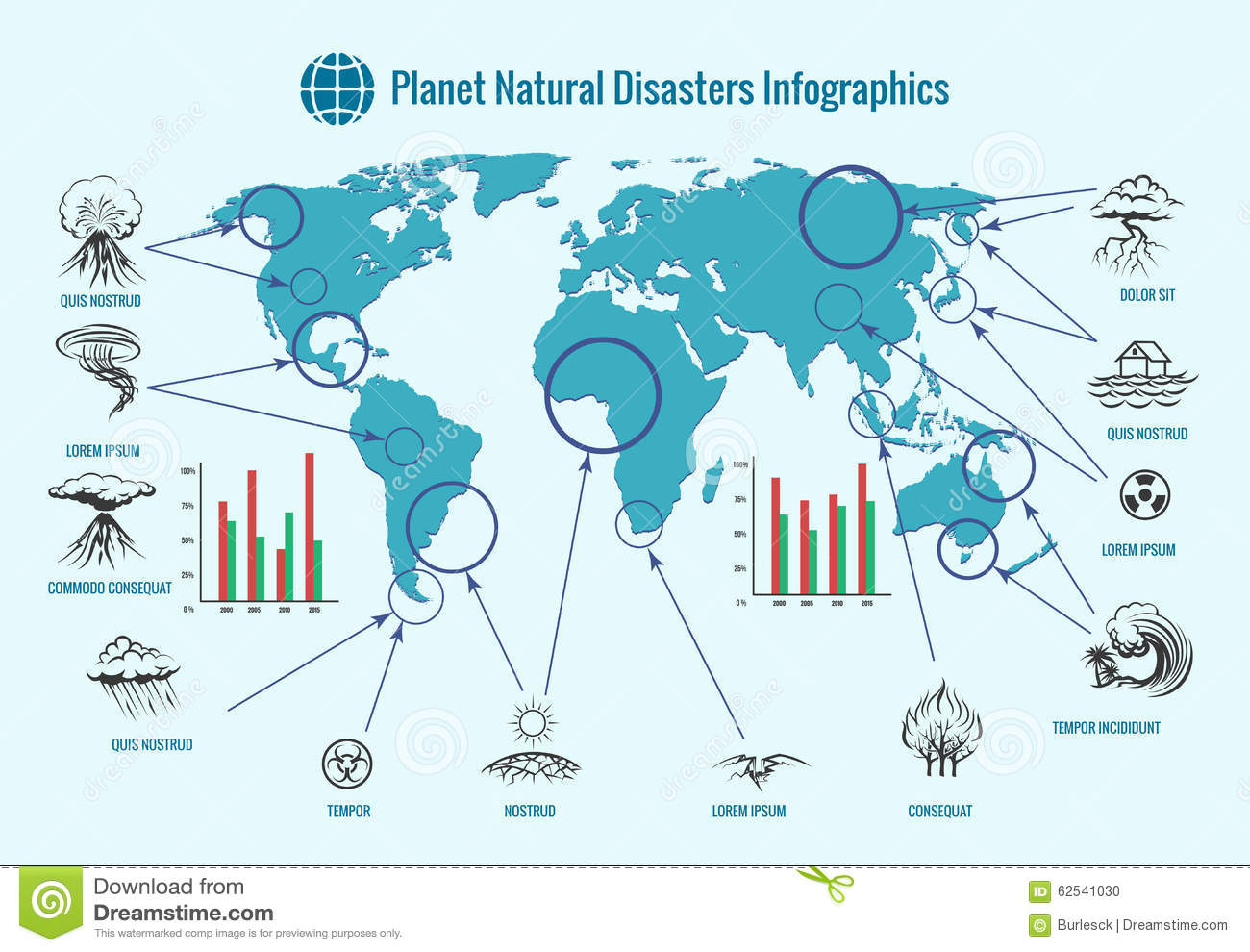 Planet Natural Disasters Infographics Stock Vector.
