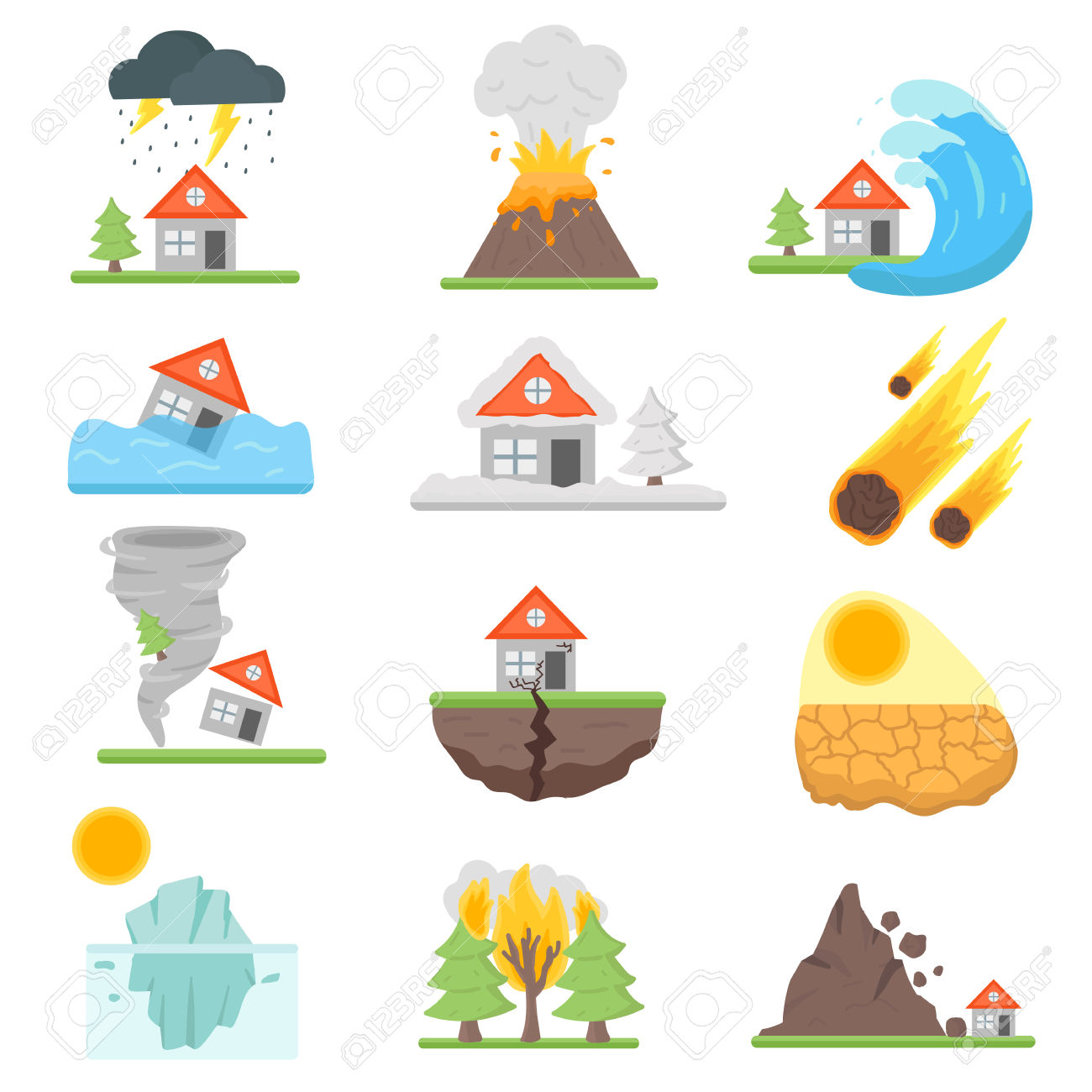 Home Insurance Business Set Vector Illustration With House Icons.