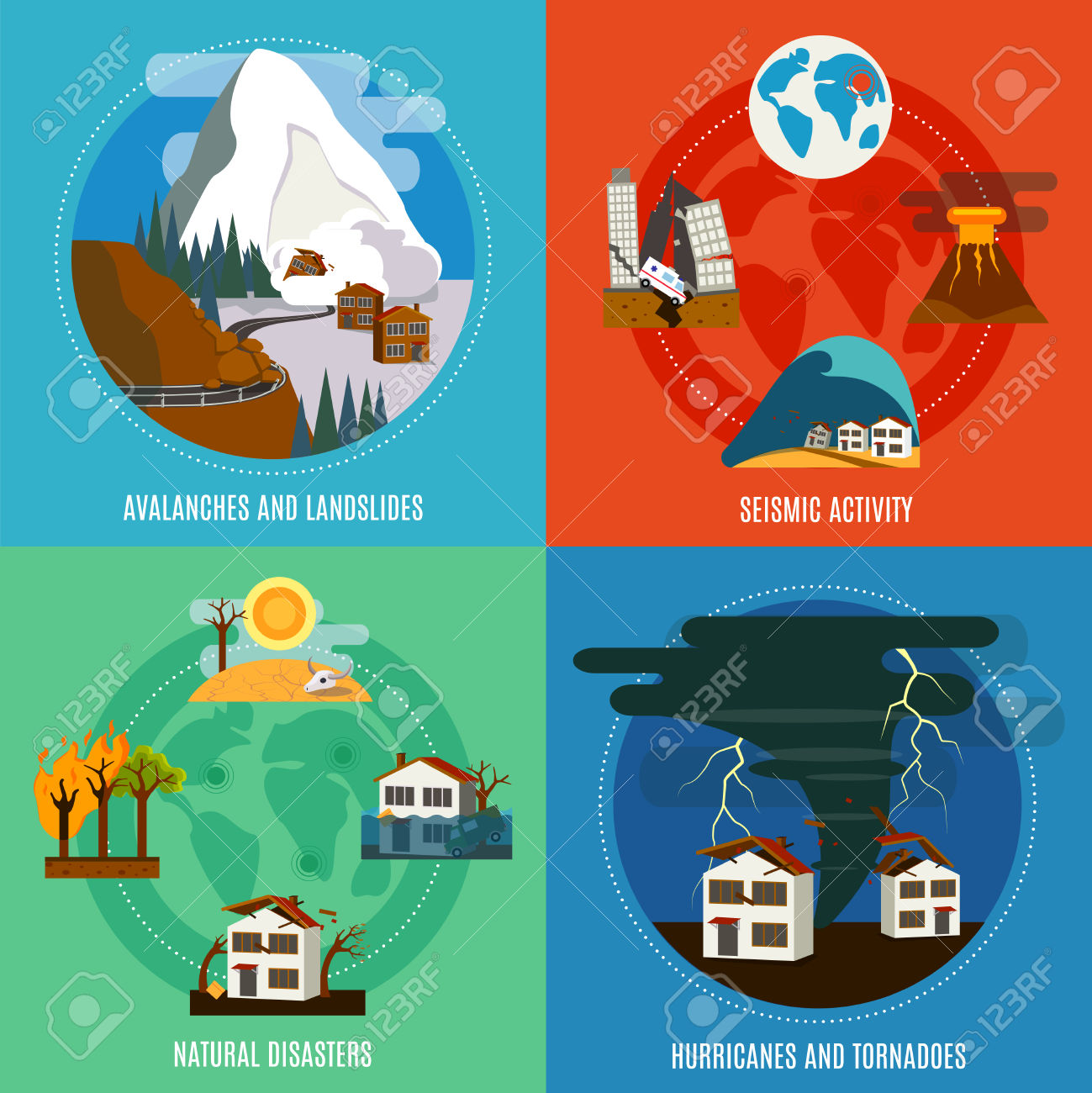 Natural Disaster 4 Flat Icons Square Banner With Seismic Activity.