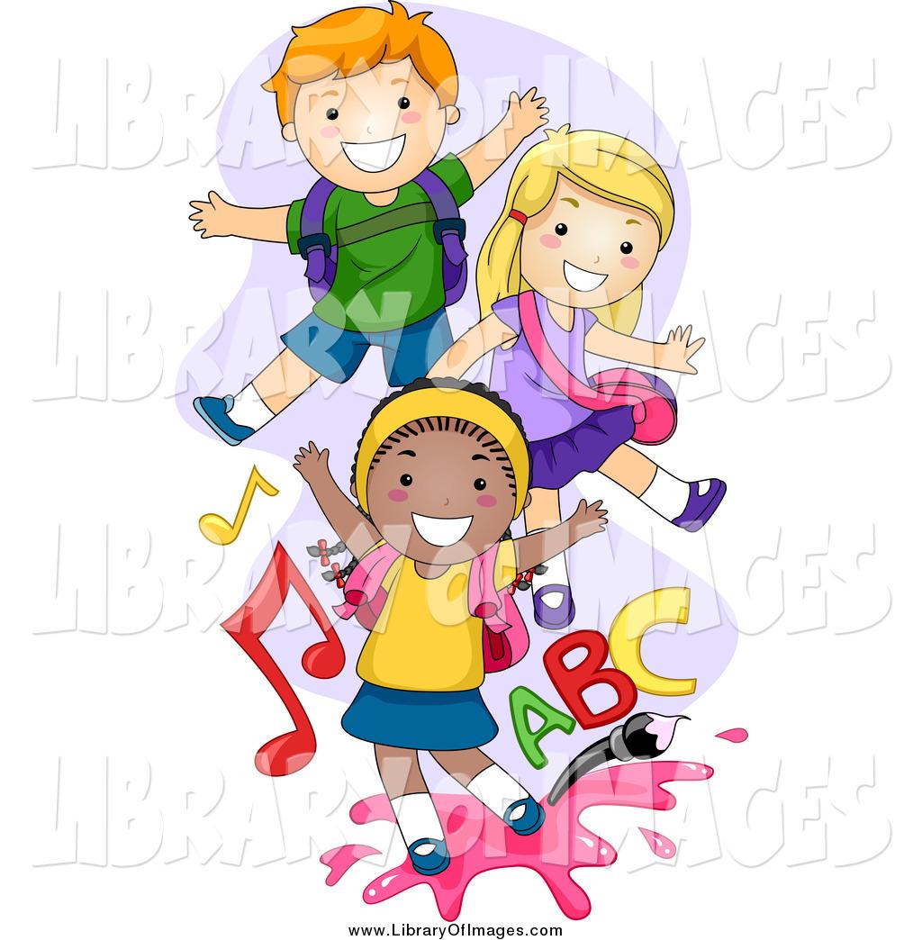 Clip Art of Happy Playful School Kids by BNP Design Studio.