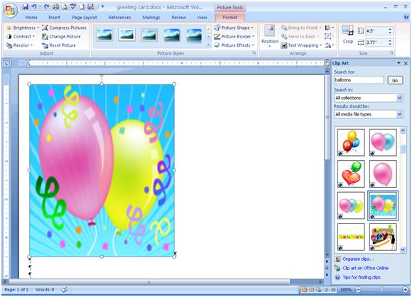 Where is clipart in word 2007.