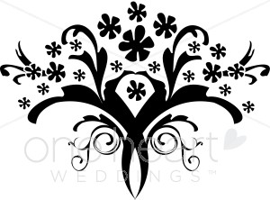 Clip Art Black And White Bouquet Clipart.