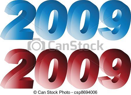 Clip Art Vector of 3d number 2009 csp8694006.