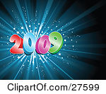 Clipart of a Happy New Year 2017 Greeting over Gray with Flares.