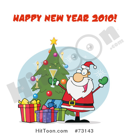 Santa Clipart #73143: Happy New Year 2010 Greeting with.