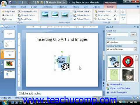 PowerPoint Tutorial Inserting Clip Art and Pictures Microsoft Training  Lesson 5.1.