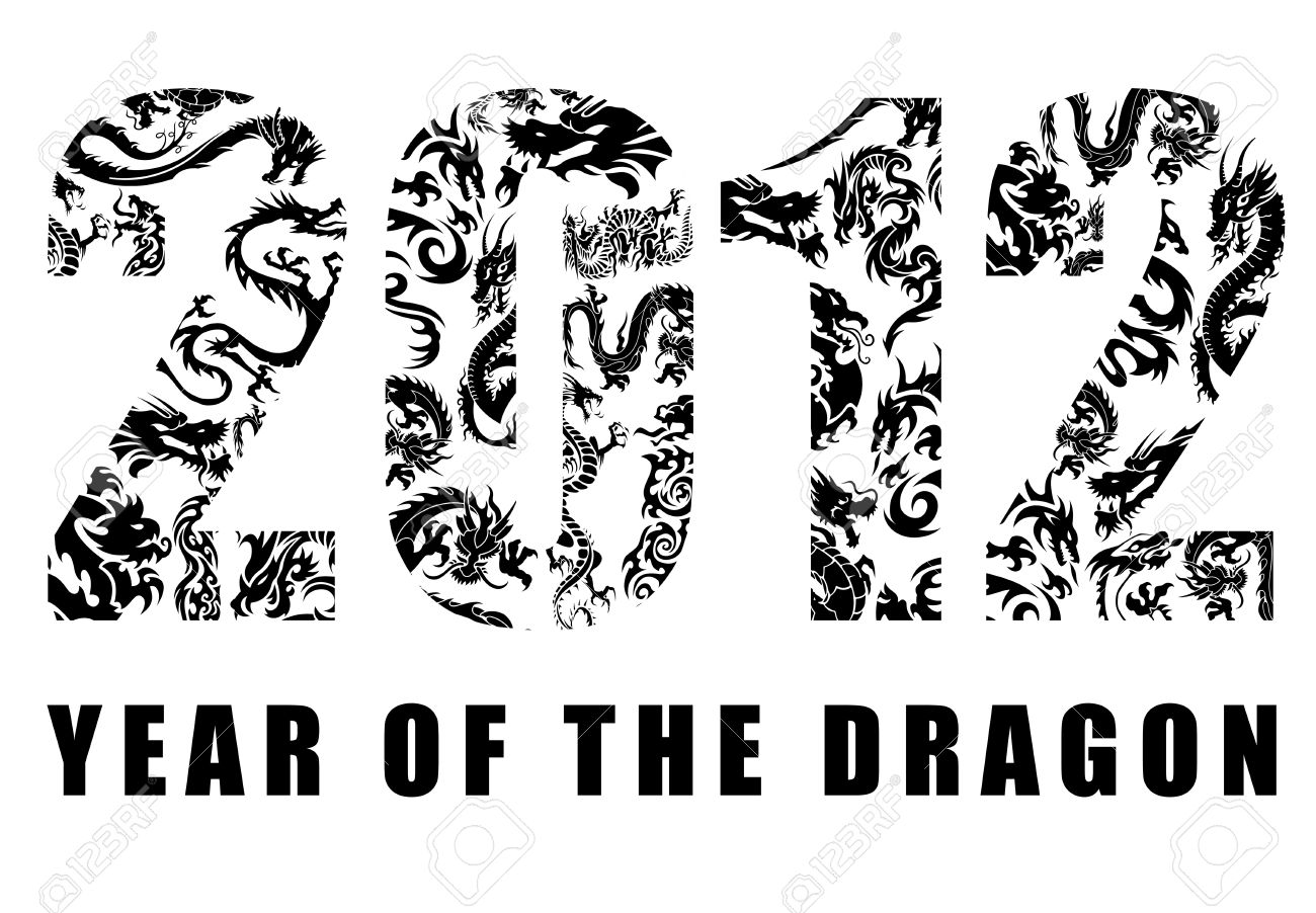 2012 Number With Chinese Year Of The Dragon Design Clipart Stock.