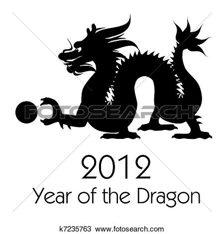 Drawing of Chinese New Year of the Dragon 2012 Clip Art k7235763.