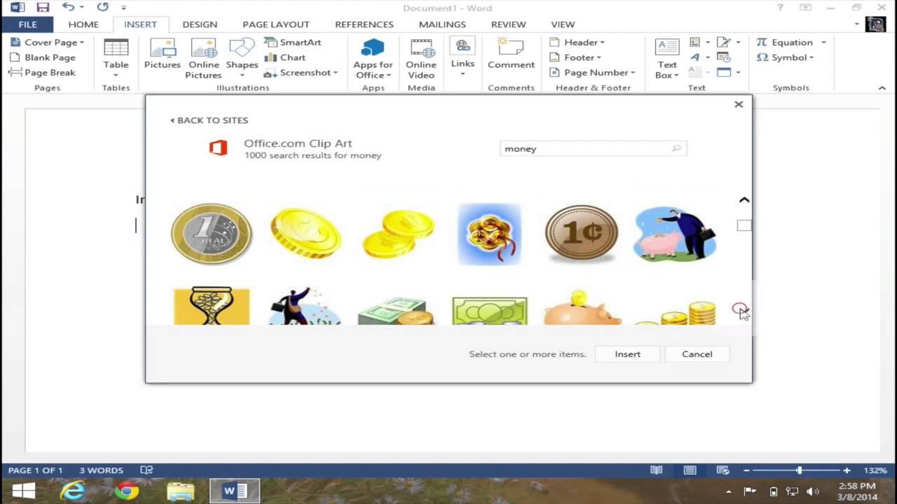 Insert Clip Art in Microsoft Word 2013.