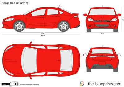 Dodge Dart GT vector drawing.