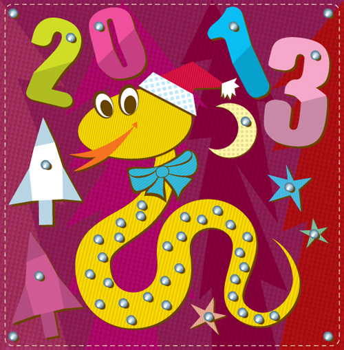 Cartoon Christmas and 2013 New Year Clipart vector 04 free.
