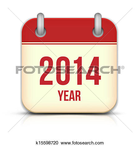 Clipart of 2014 Year Vector Calendar App Icon With Reflection.