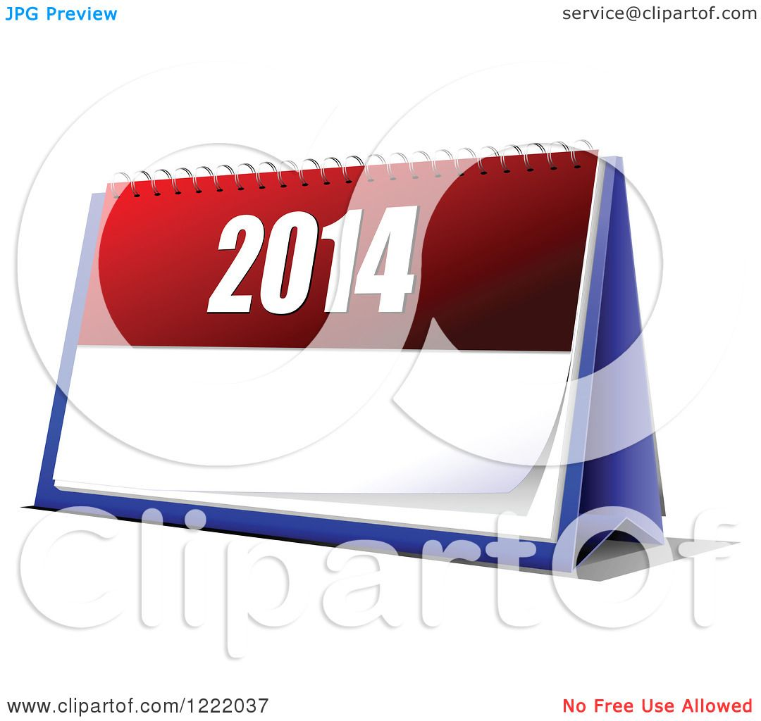 Clipart of a 2014 Year Desk Calendar.