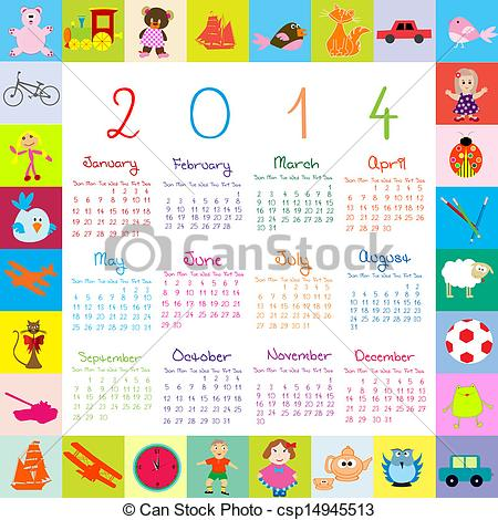Vector Clip Art of 2014 Calendar with toys for kids csp14945513.