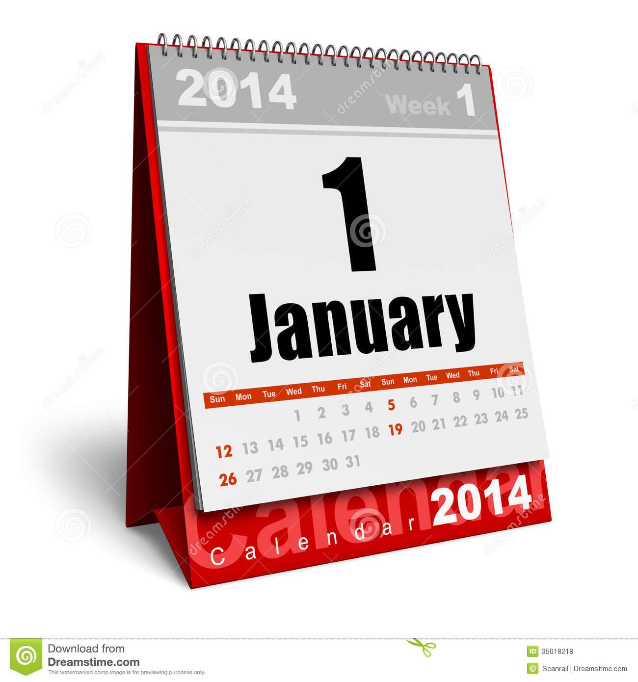 January 2014 Calendar Clipart.