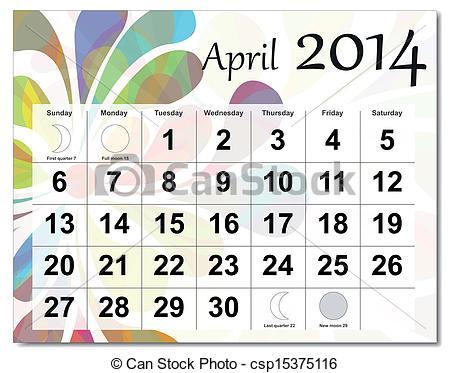 April 2014 Calendar Clipart.