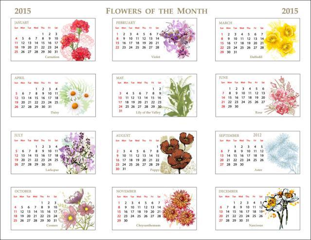 2015 Monthly Calendar Clipart.
