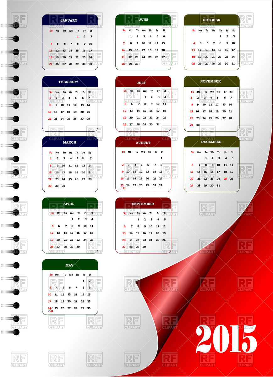 Year 2015 calendar on page with curled corner Vector Image #57073.