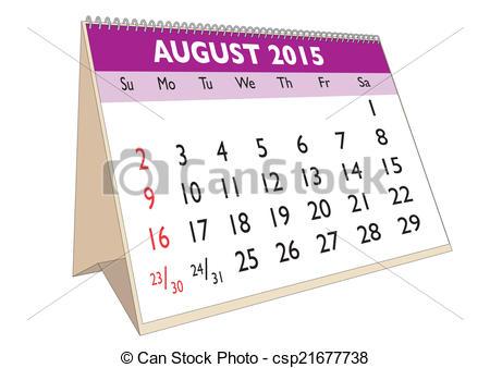 August 2015 calendar clipart.