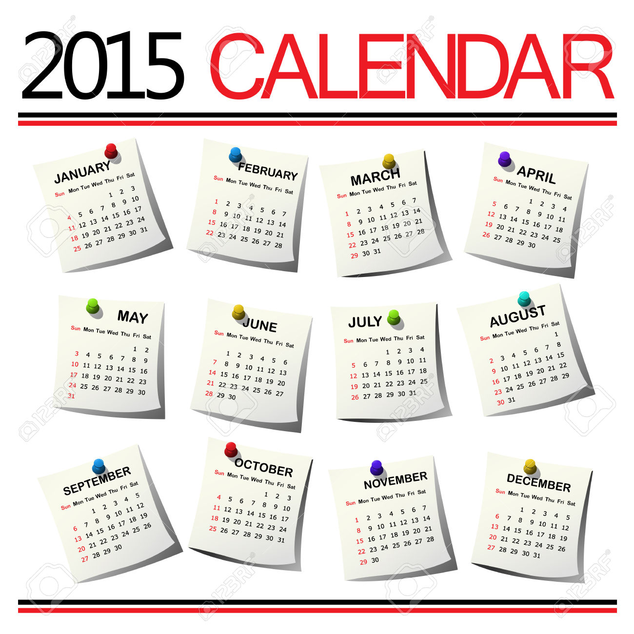 2015 Calendar Against White Background Royalty Free Cliparts.
