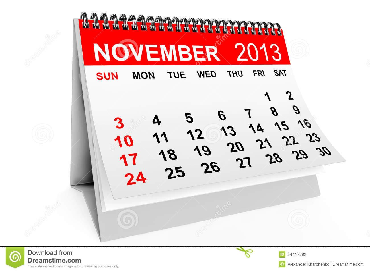 Clipart calendar november.