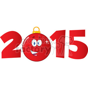 7006 Royalty Free RF Clipart Illustration 2015 Year With Cartoon Red  Christmas Ball clipart. Royalty.