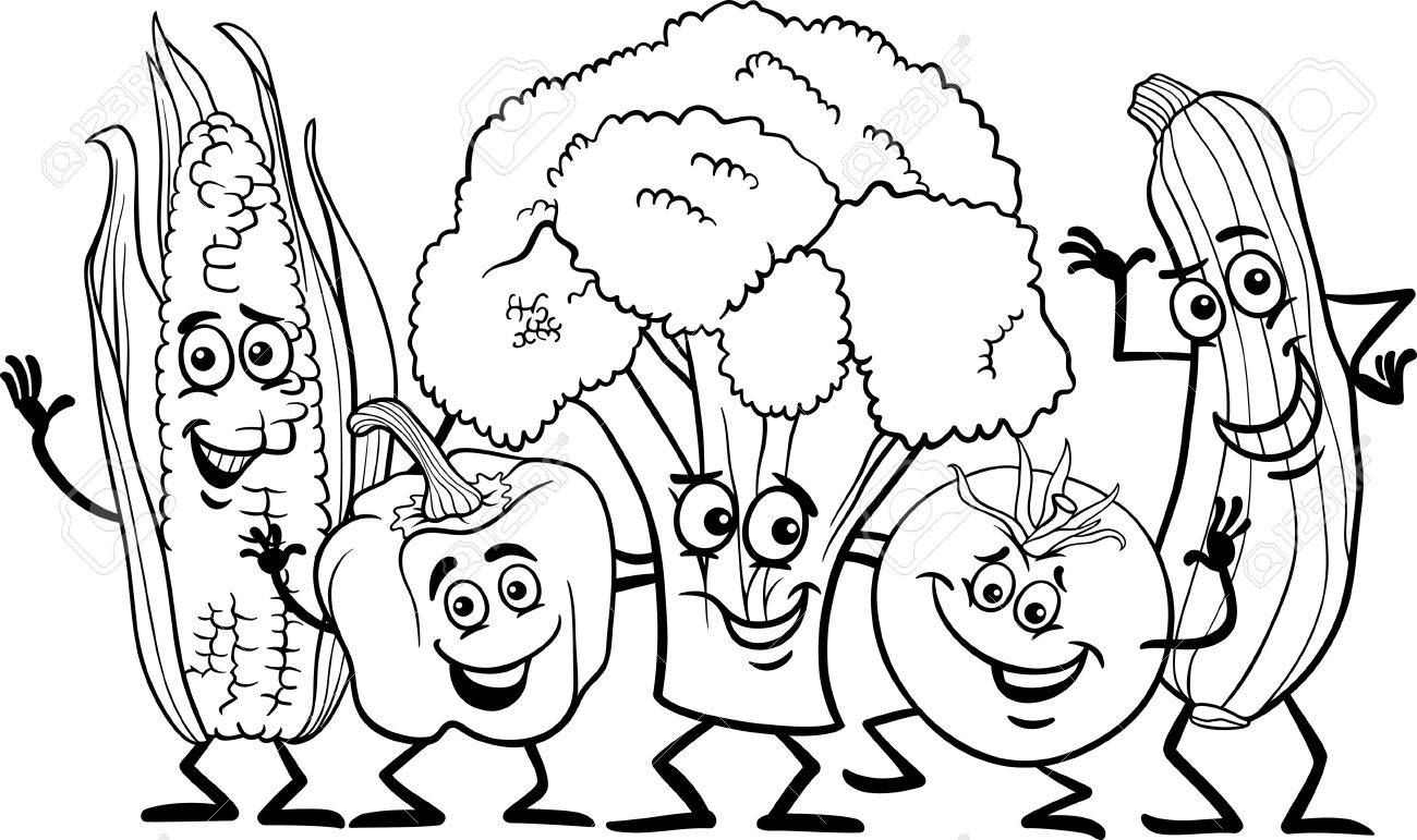 Fruits And Vegetables Clipart Black And White.