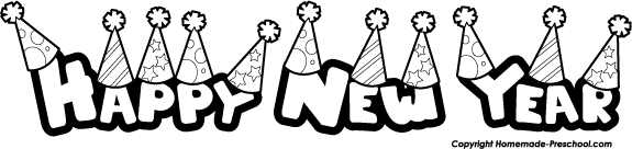 Happy new year clipart black and white.